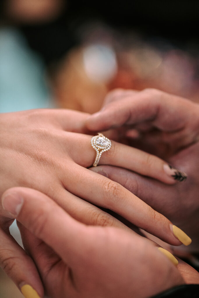 A halo diamond ring for an asian  utah wedding