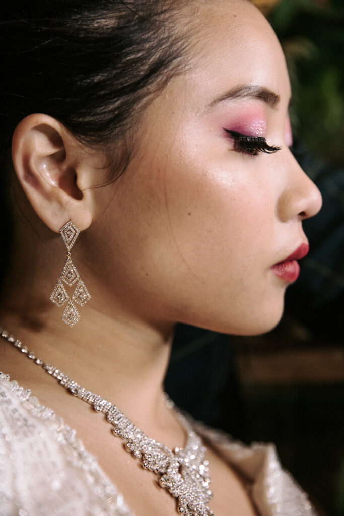 Detail  shoot wedding earrings and necklace and glam wedding makeup