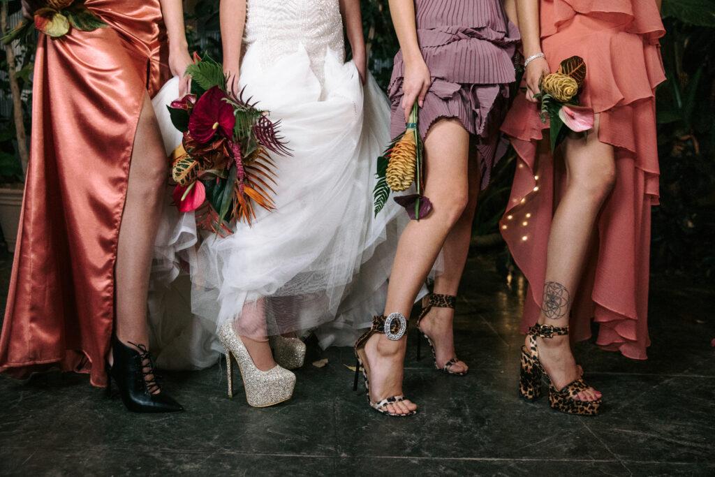 Bride and bridesmaid high heels with diamonds and animal print