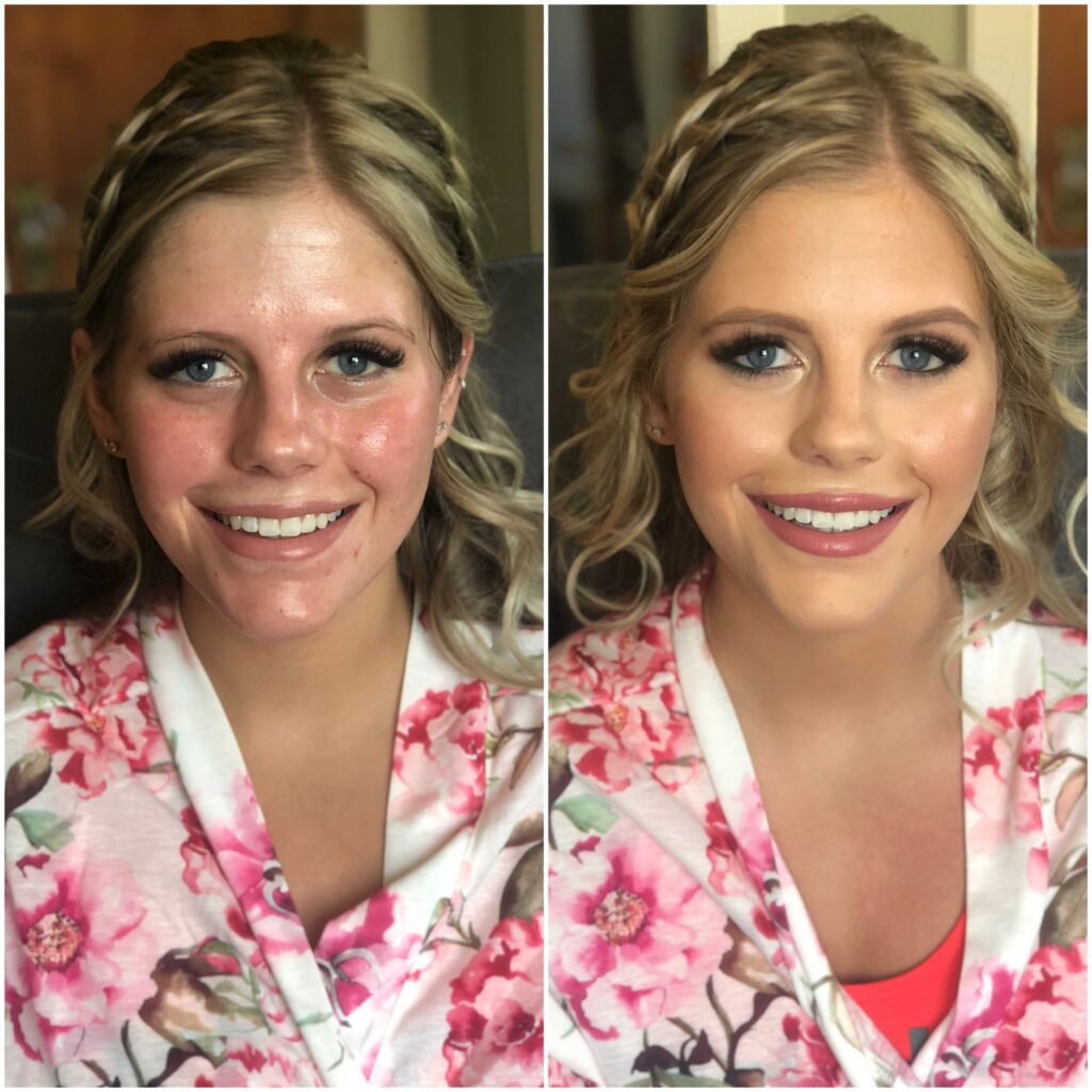 Before and After for a blonde beautiful bride