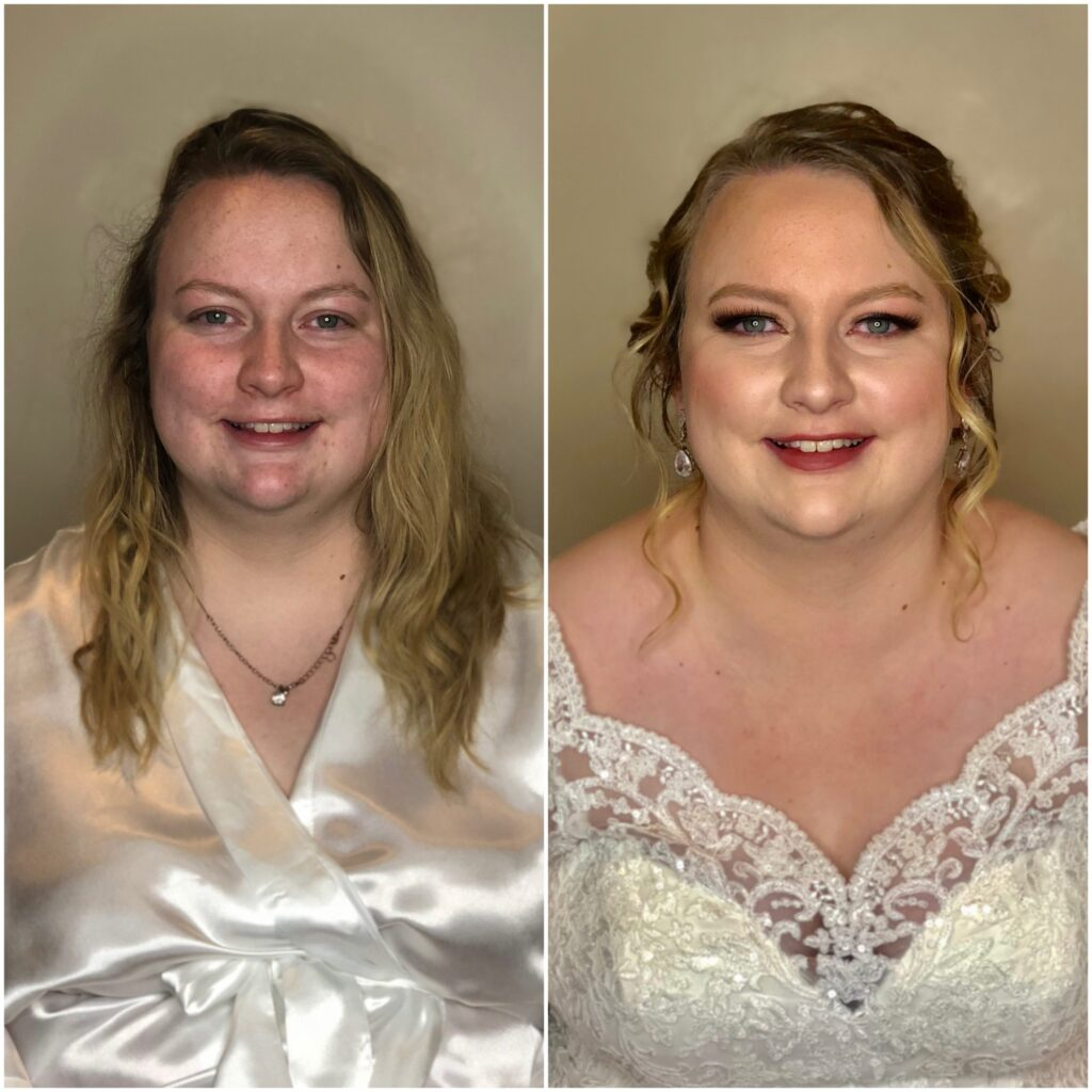 before and after of glam bridal Haylee