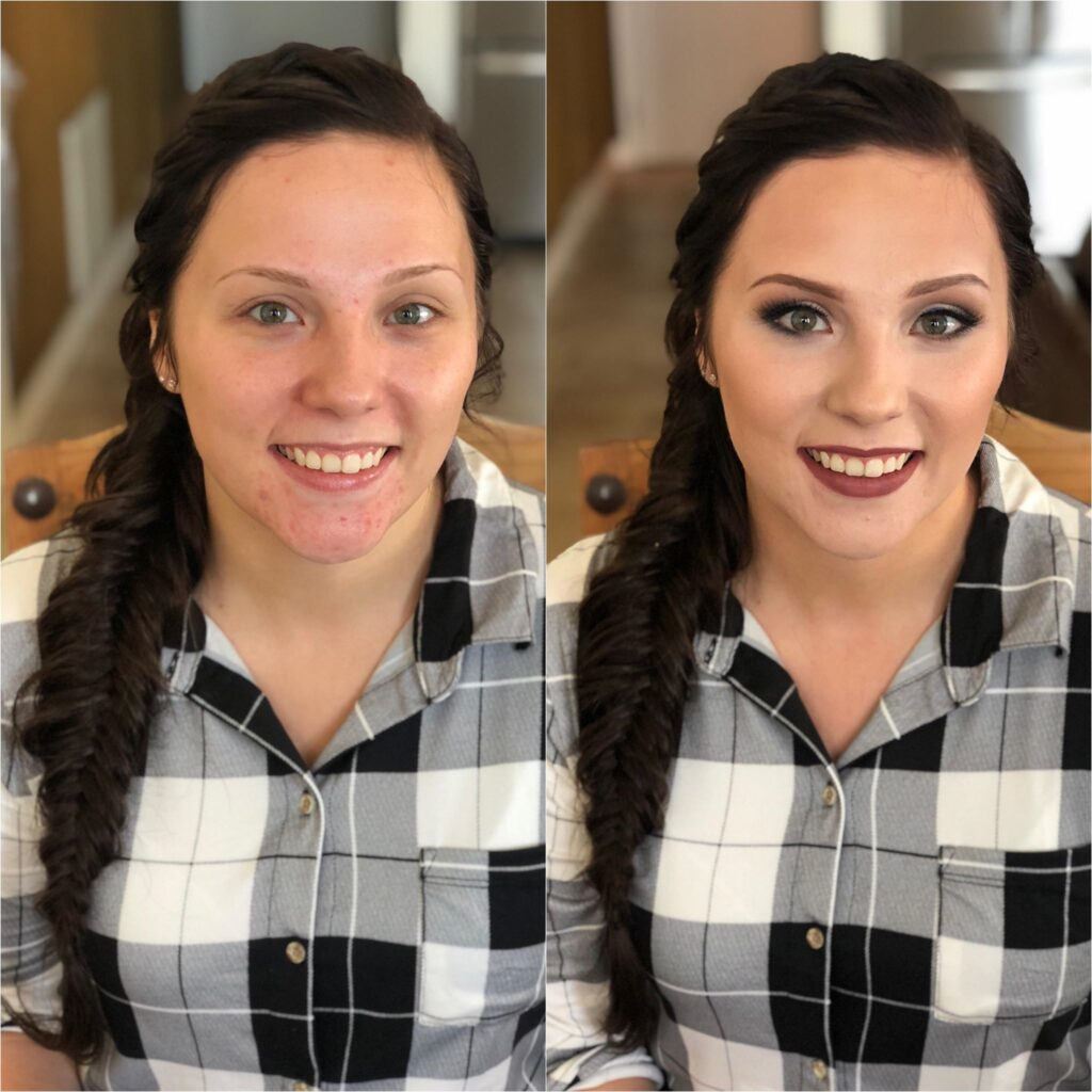 Before and after of brunette bride