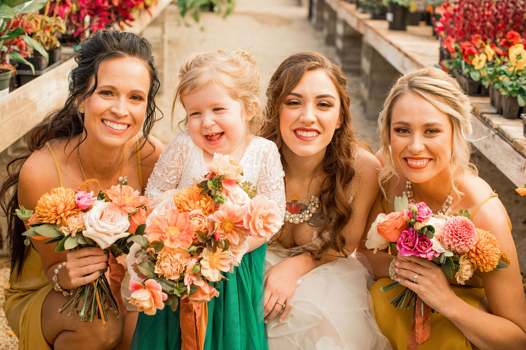 Bright floral with bride and two bridemaids.