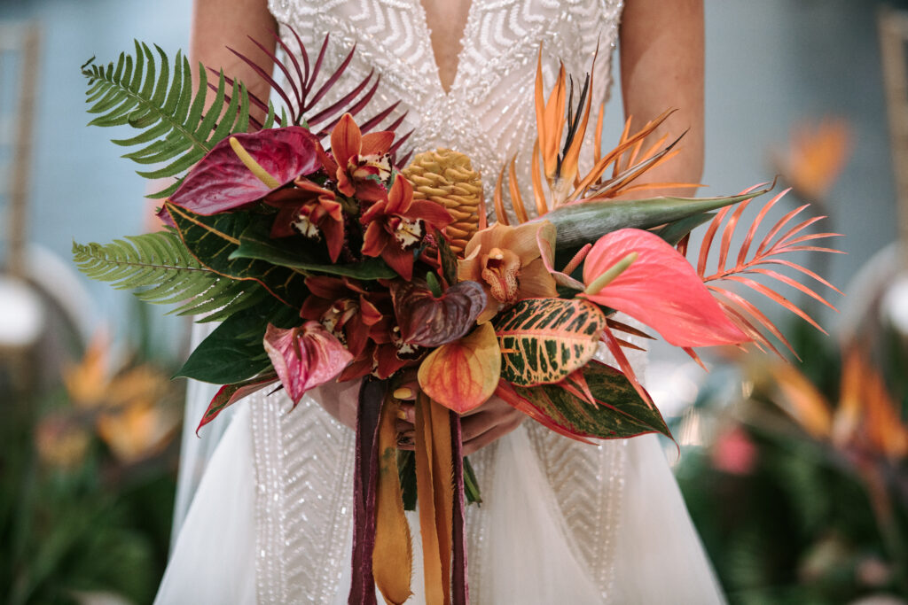 A bridal bouquet filled with tropical florals