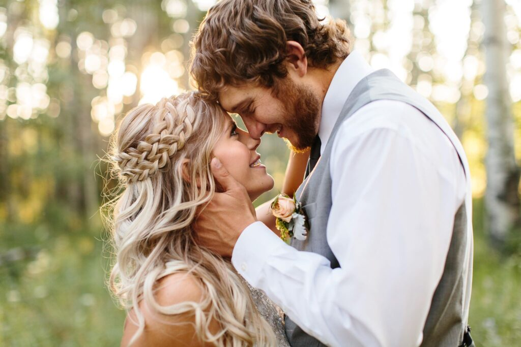 in love couple with double braid style