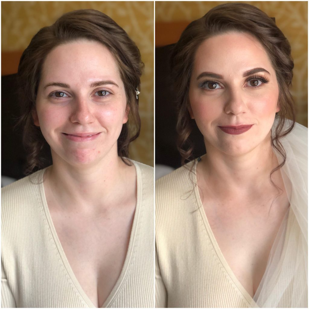 Brunette bridal before and after with a dark maroon lip