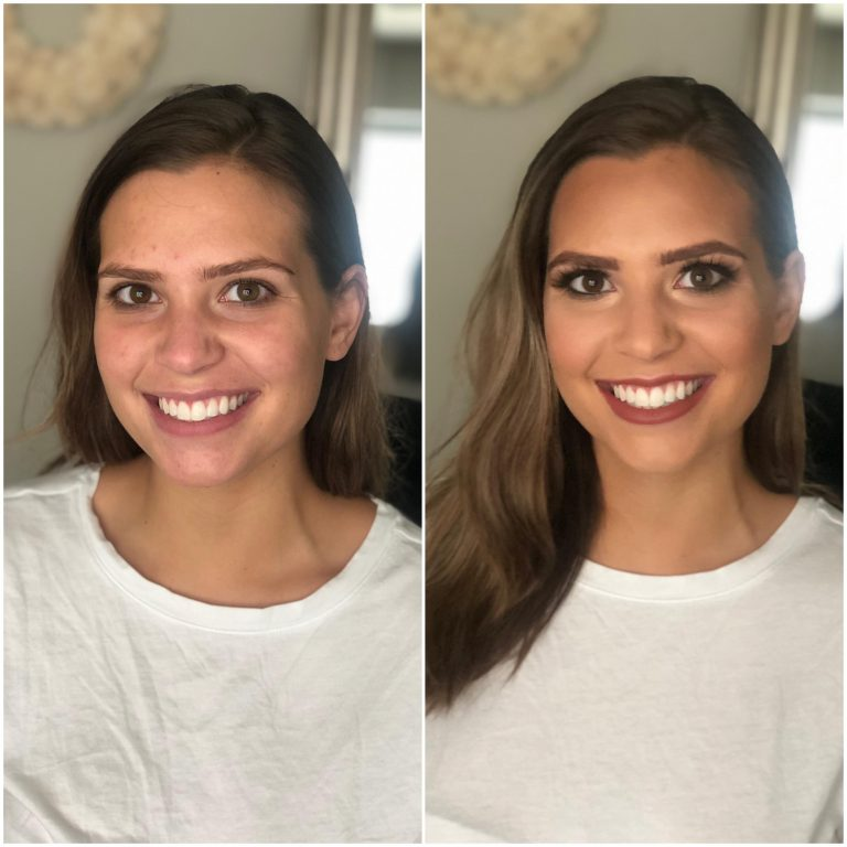 Brown eye makeup look on brunette bride
