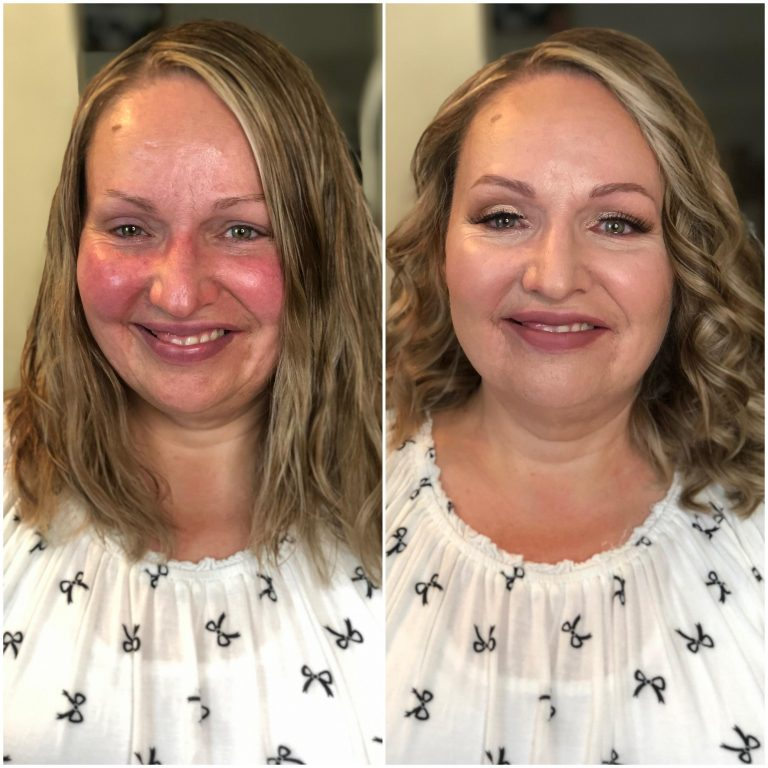 Mature skin makeup look that covers rosacea