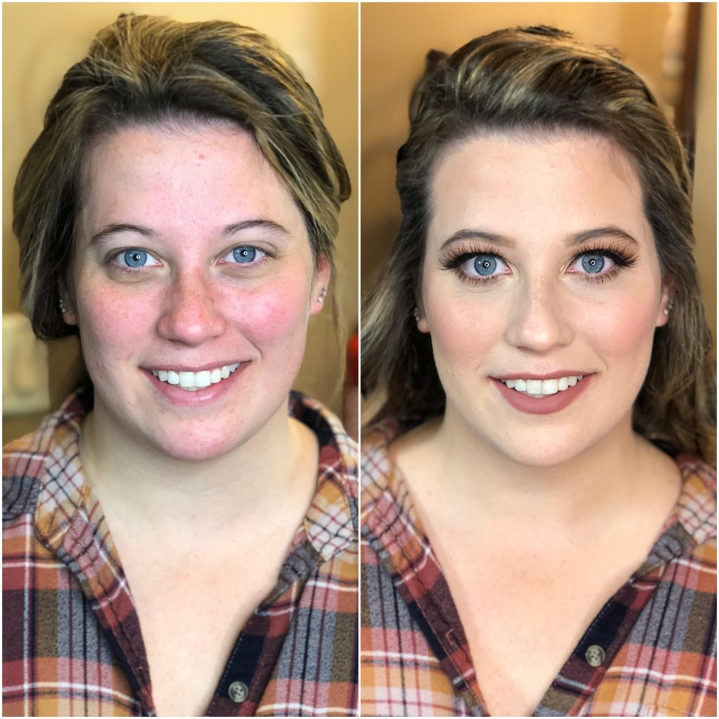 Natural bridal makeup on fair skin