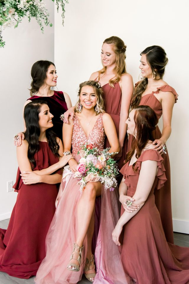Bridal party in blush dresses